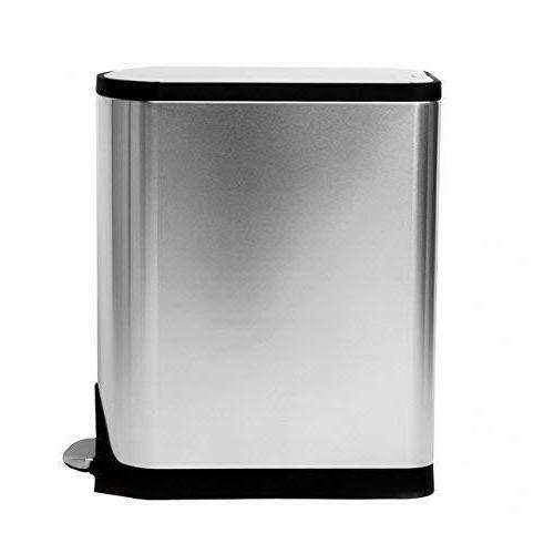 Trash Step Butterfly Lid Garbage Kitchen Stainless Steel