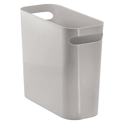 mDesign Plastic Small Can Garbage Container Handles for Bathroom, Home Shatter-Resistant -