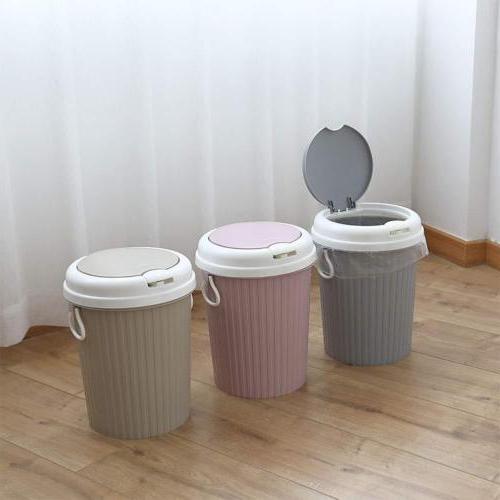 US Plastic Portable Trash Can Bin Lid Home Bathroom Basket