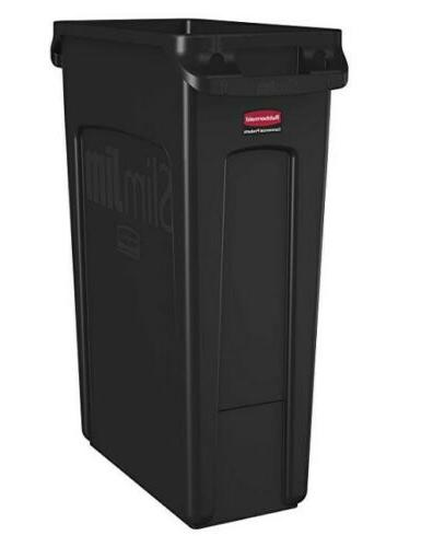 Rubbermaid Commercial Vented Slim Jim Trash Can 23 Gallon Bl