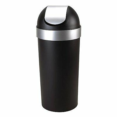 Umbra Venti 16-Gallon Swing-Top Trash Can, Black/Nickel