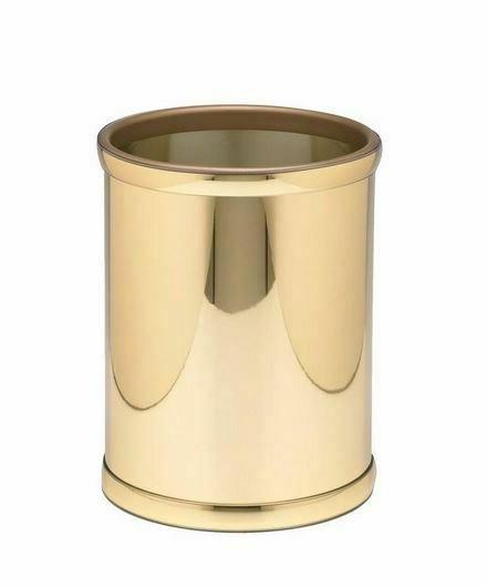 Waste Basket 8 Qt. Polished Brass Oval Home Bathroom Office