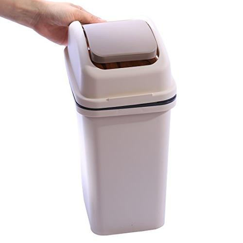 Plastic Swivelling Cover Trash Can -