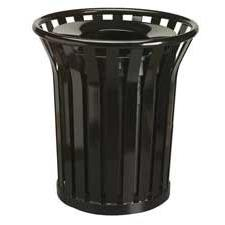"""Waste Receptacle, 36 Gallon, 29""""Dx32-1/2""""H, Black, Sold as 1"""