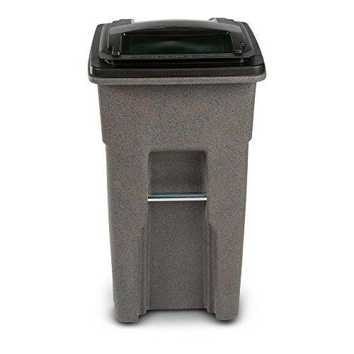 wheeled graystone trash can