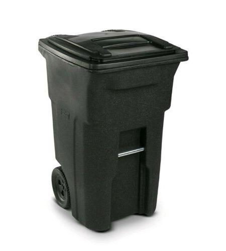 Wheeled Can Outdoor Waste Garbage Bin Lid 64 Gallon Duty