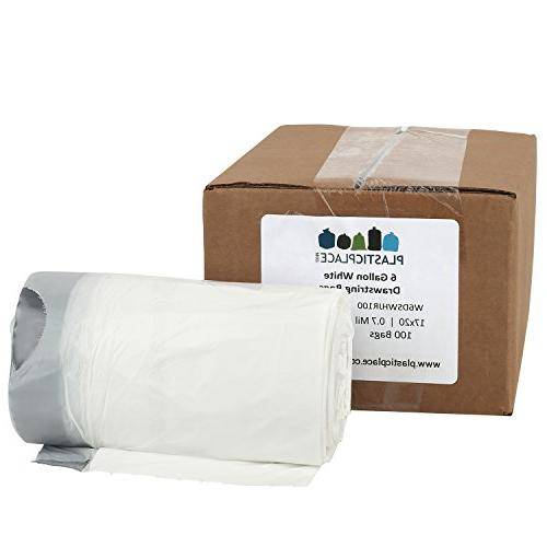 white drawstring garbage bags