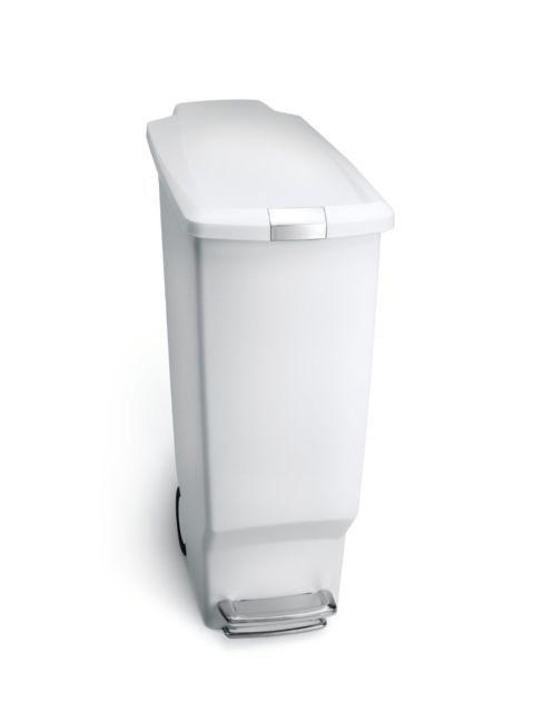 white plastic step trash can kitchen garbage