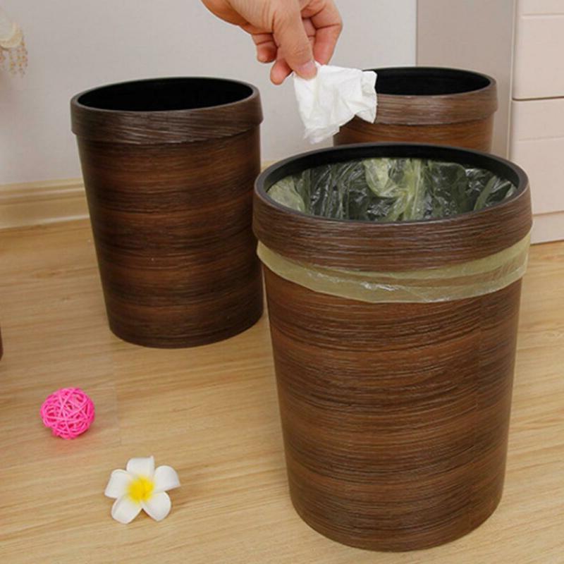 Wood Wastebasket Bin Bathroom 10L