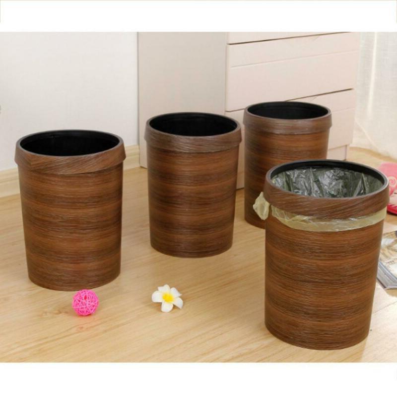 Wood Trash Wastebasket Trash Can Garbage Bin 10L