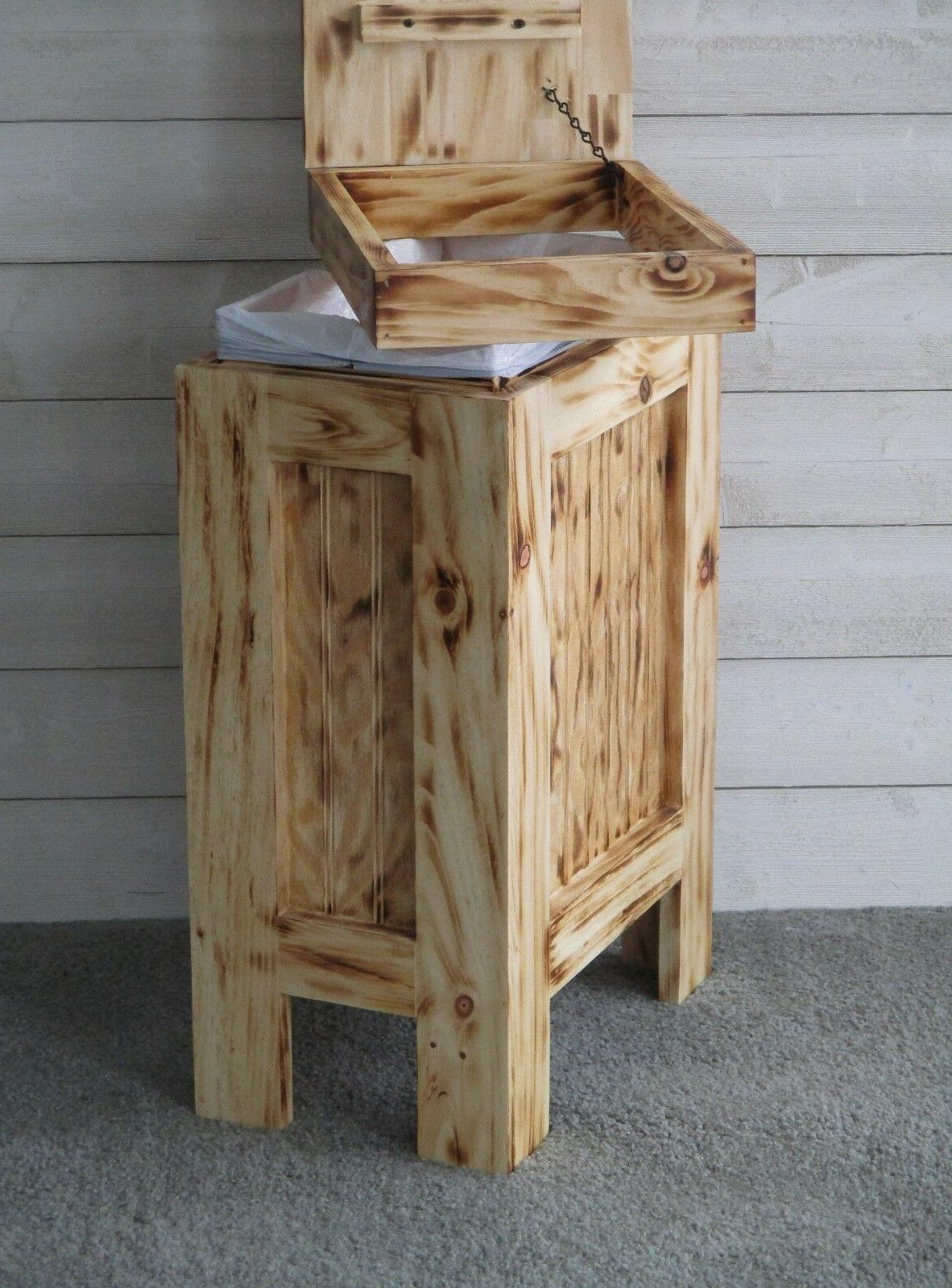 Wood Trash Can Garbage Trash Burnt ROPE