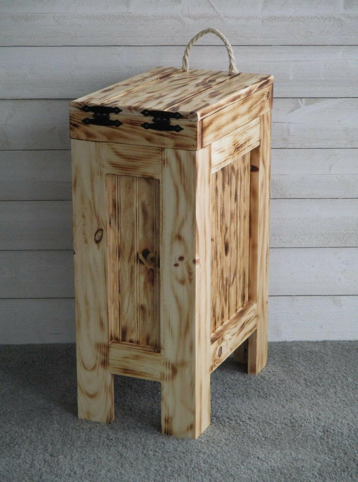 Wood Trash Can Kitchen Garbage Can Trash Burnt ROPE Handle