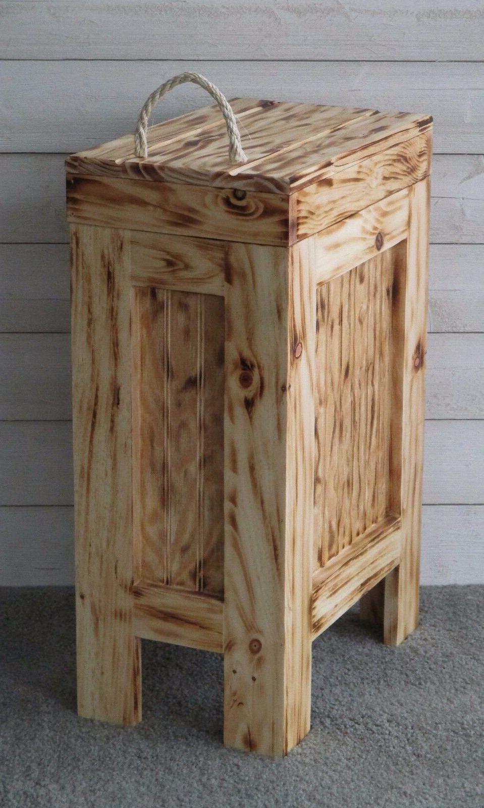 Wood Can Garbage Trash Bin w/