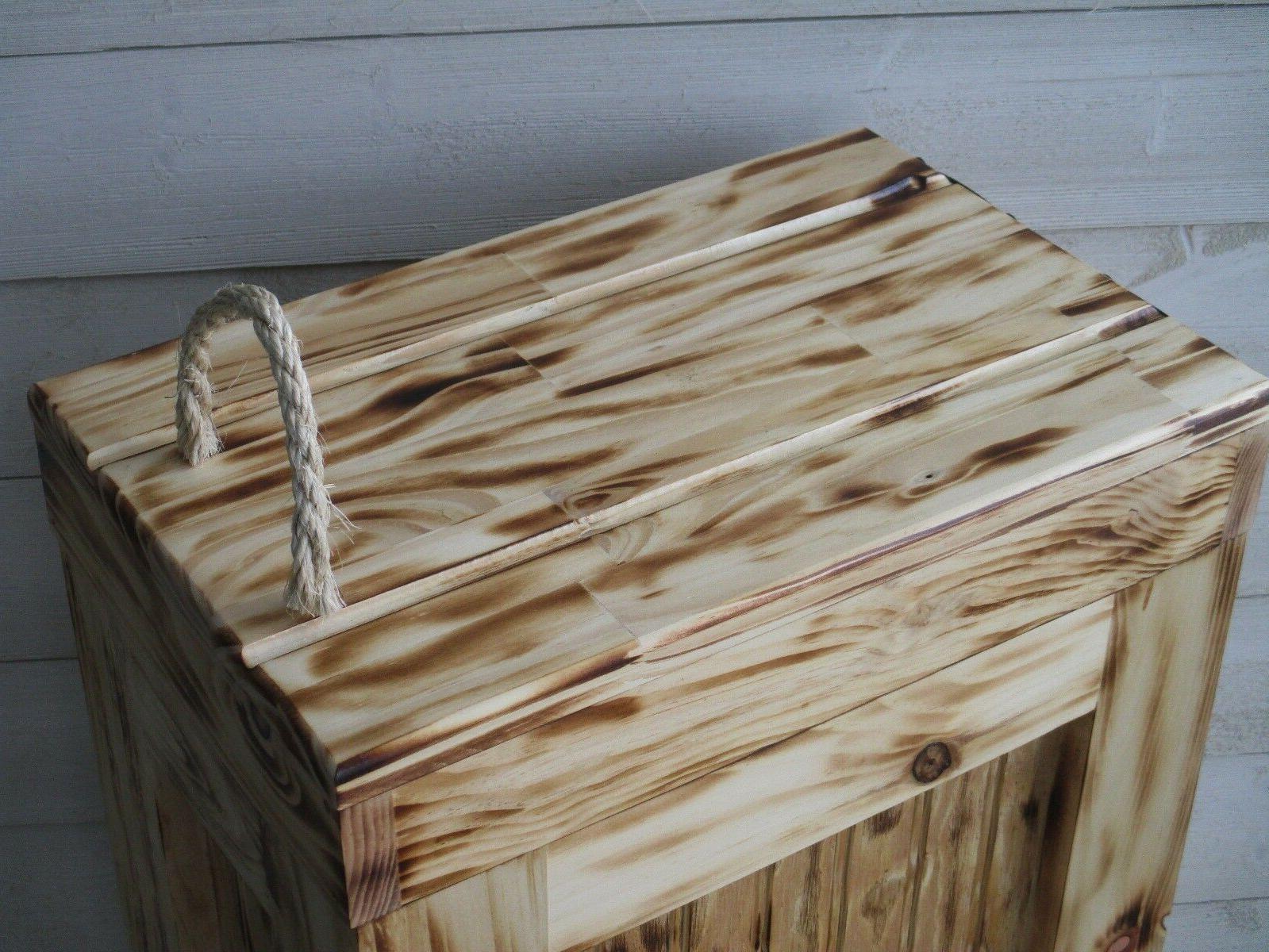 Wood Trash Kitchen Garbage Trash Bin ROPE