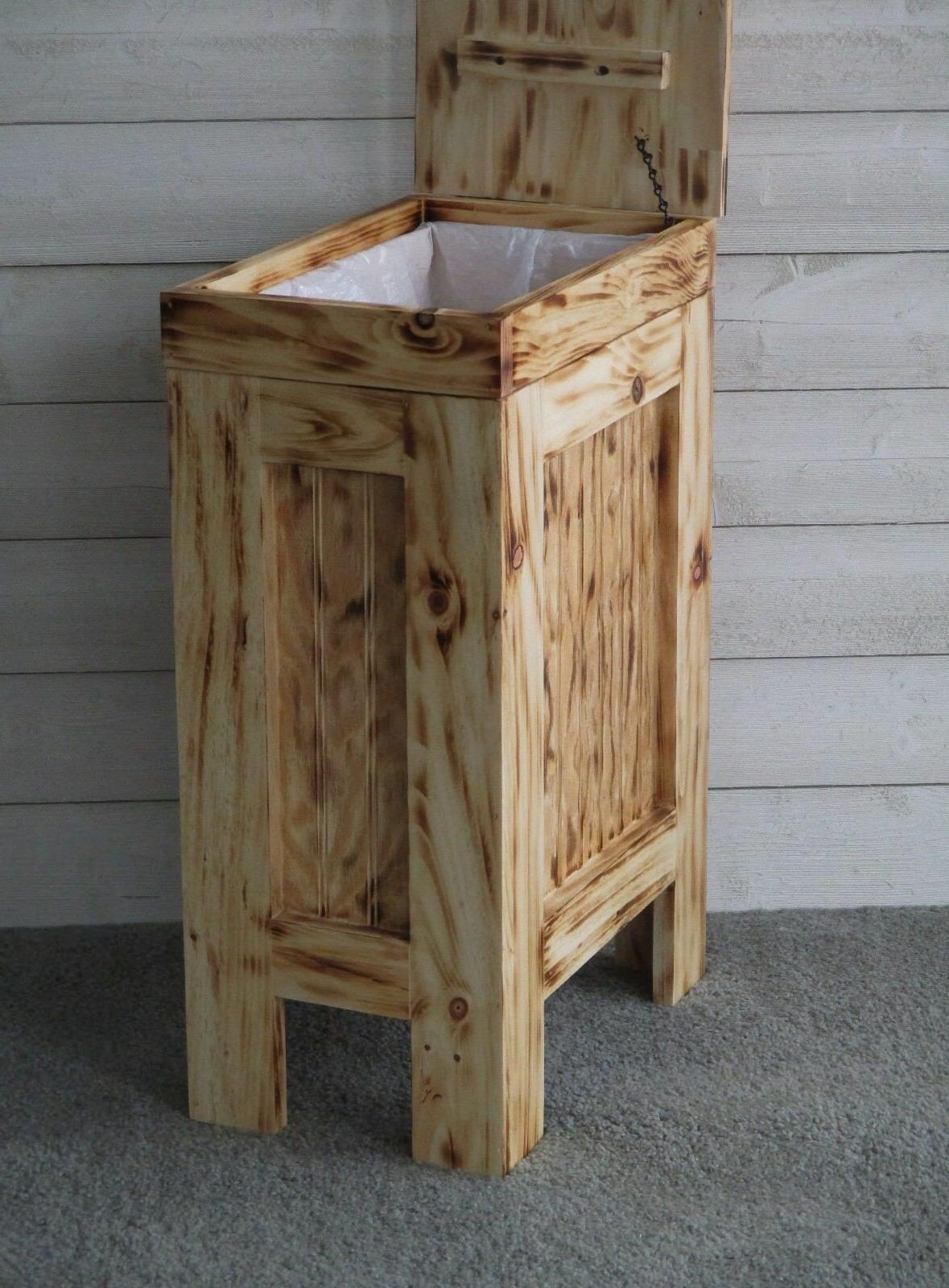 Wood Can Kitchen Garbage Can Rustic Wood Trash Bin ROPE