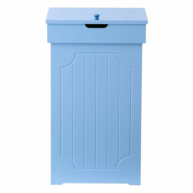 Wooden Kitchen Trash Bin Blue Storage Garbage Organizer 13 G