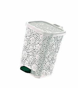 Superio Lace Design Trash Can 12.6 Qt.  White
