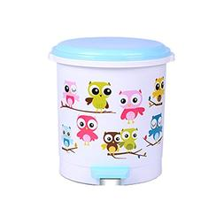 Battletter Lovable Creative Cartoon Owl Step Trash Can