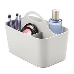 mDesign Plastic Portable Makeup Organizer Caddy Tote, Divide