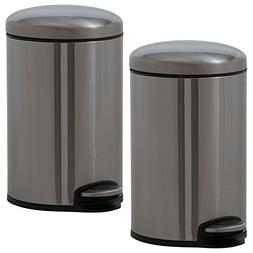EKO 91138-1 Maggey Step Bin Stainless Steel Trash Can Set |