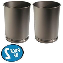 mDesign Round Metal Tall Trash Can Wastebasket, Garbage Cont