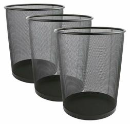 Greenco Mesh Wastebasket Trash Can, 6 Gallon, Black, 3 Pack,