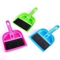 2Pcs Mini Dustpan Brush Sets, Plastic Handle Cleaning Whisk