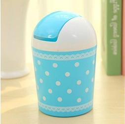 Huasen Mini Plastic Garbage Can Desk Trash Can With Lid - Bl