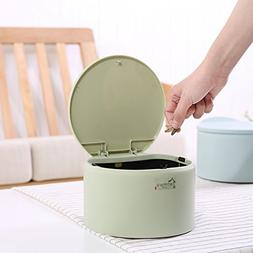 Trash Can Mini Small Plastic Garbage Can Desktop Withs Lid a