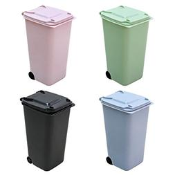 TOYMYTOY 4Pack Mini Wastebasket Set,Desk Trash Can with Lid