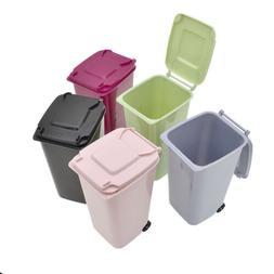 Mini Wheelie Trash Can Bin Desktop Garbage Basket Table Home