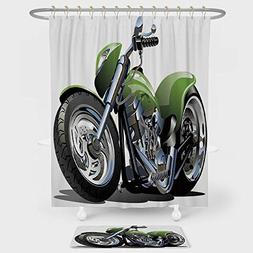 iPrint Motorcycle Shower Curtain Floor Mat Combination Set M