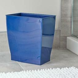 navy blue trash can rectangular blue bathroom