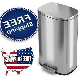 New 13 Gallon Stainless Steel Step Trash Can Kitchen Home Of