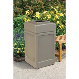 New 42 Gallon Commercial Zone Outdoor Trash Can Beige Garbag