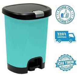 New 7gal Teal Step On Trash Can Wastebasket Garbage Plastic