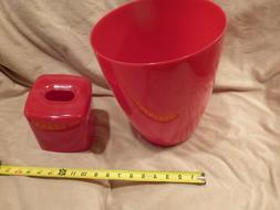 New Red Plastic Garbage Can and Tissue Holder