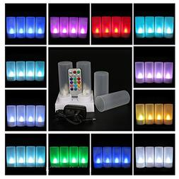 4Pcs Novelty Rechargeable Multi Color LED Candles, Flameless