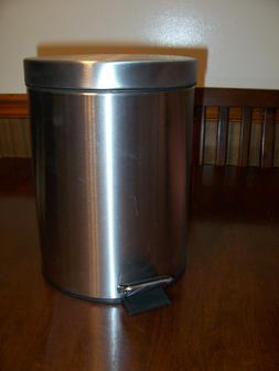 NWT Small 5 Liter brushed finish stainless steel trash bin g