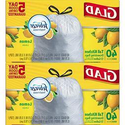 Glad Odorshield Tall Kitchen Drawstring Trash Bags, Lemon, 1
