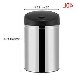 OHOJIDA OHO New 10.5-Gallon 40L Trash Can Stainless Steel To