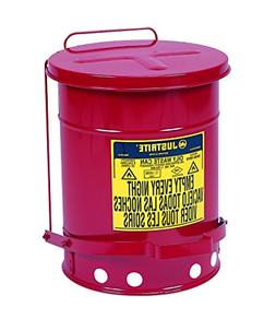 JUSTRITE Oily Waste Can, 6gal, Red