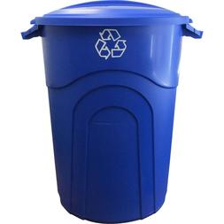 Outdoor Trash Can Recycling Bin 32 Gal Blue Snap-Fit Lid Stu