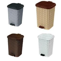 Outdoor Trash Hideaway Resin Wicker Patio Garden Garbage Was