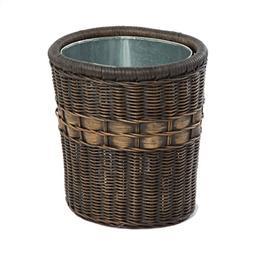 The Basket Lady Oval Wicker Waste Basket One Size  Antique W