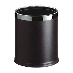 LUXEHOME Overlap Open Top Round Leather Metal Trash Can, Cap