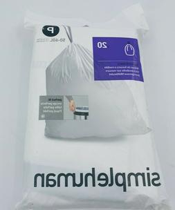 P Simplehuman Plastic Trash Can Liners P 13-16 Gallon 20 Gar