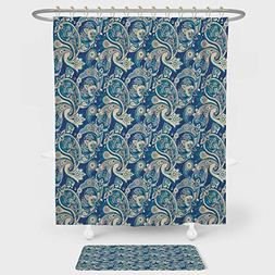 Paisley Shower Curtain And Floor Mat Combination Set Authent