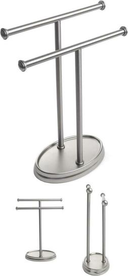 Palm Double Hand Towel Tree Brushed Nickel Accessories Stand