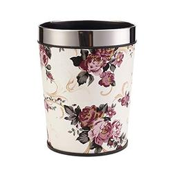 Peony Flower No Cover Trash Can Home Bedroom Kitchen Plastic